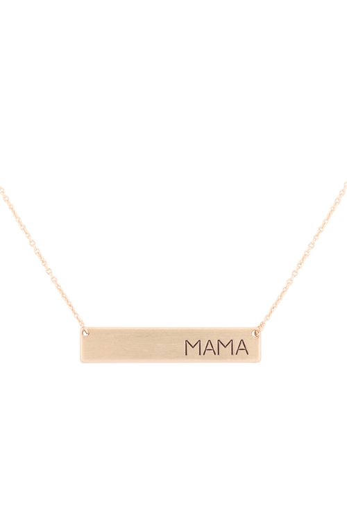 S1-7-2-17610-MG - MAMA BAR NECKLACE - MATTE GOLD/6PCS