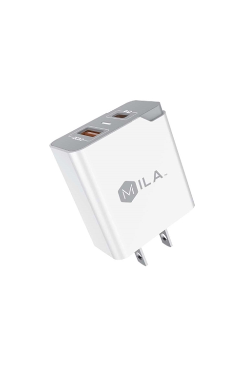S1-3-3-198658 - MILA|3.0A FAST CHARGE USB AND USB-C PORT HOME WALL  ADAPTER RETAIL WHITE /6PCS