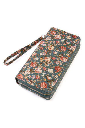 S7-5-5-AHDG1934GY GRAY FLORAL DOUBLE ZIPPER WALLET/6PCS
