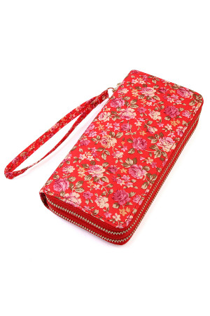 S4-5-1-AHDG1934RD RED FLORAL DOUBLE ZIPPER WALLET/6PCS