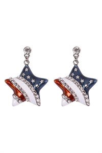 S19-8-1-23392-S - AMERICAN FLAG STAR ACCENT EARRINGS - SILVER/6PCS