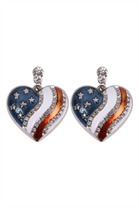 S18-8-1-23393-S - AMERICAN FLAG HEART ACCENT EARRINGS - SILVER/6PCS