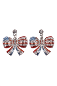S1-4-2-23394-S - AMERICAN FLAG RIBBON ACCENT EARRINGS - SILVER/6PCS