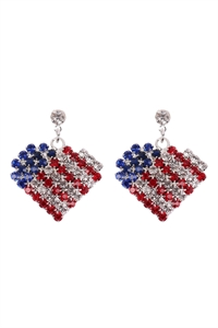 S18-8-1-23395-S - AMERICAN FLAG HEART ACCENT RHINESTONE EARRINGS - SILVER/6PCS