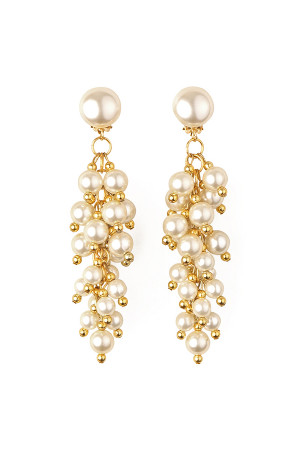 S4-6-2-A2343IV IVORY GOLD PEARL DANGLE EARRING/12PAIRS