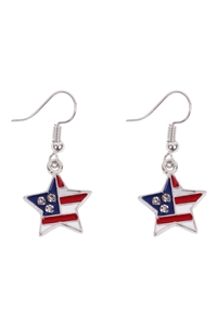 S20-10-3-23690-S - STAR USA ACCENT  DANGLE HOOK EARRINGS - SILVER/6PCS
