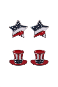 S1-4-2-24608-S - 2 PAIR FLAG STAR HAT USA ACCENT EARRINGS - SILVER/6PCS