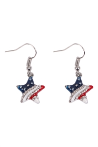 S19-10-3-24614CR-S - STAR USA ACCENT DROP HOOK EARRINGS  - CRYSTAL SILVER/6PCS