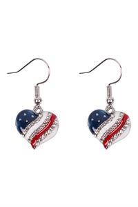 S19-8-1-24615CR-S - HEART USA ACCENT  DROP HOOK EARRINGS - CRYSTAL SILVER/6PCS