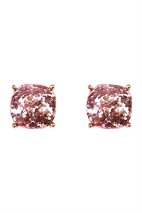 S25-3-2-24865LROG PINK GOLD CUSHION GLITTER EARRING/6PAIRS
