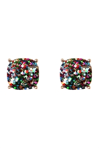 S6-4-2-A24865MUG MULTICOLOR GOLD CUSHION GLITTER EARRING/6PAIRS