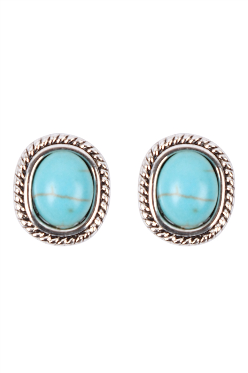S1-1-4-25022TQ-S - OVAL TEXTURED SEMI STONE STUD EARRINGS - TURQUOISE/6PCS
