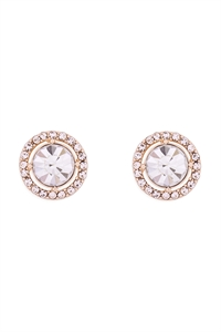S1-3-3-25476CR-G -CUBIC ZIRCONIA  ROUND HALO STUD EARRINGS - CRYSTAL GOLD/6PCS