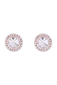 S1-4-2-25476CR-RG - CUBIC ZIRCONIA  ROUND HALO STUD EARRINGS - CRYSTAL ROSE GOLD/6PCS