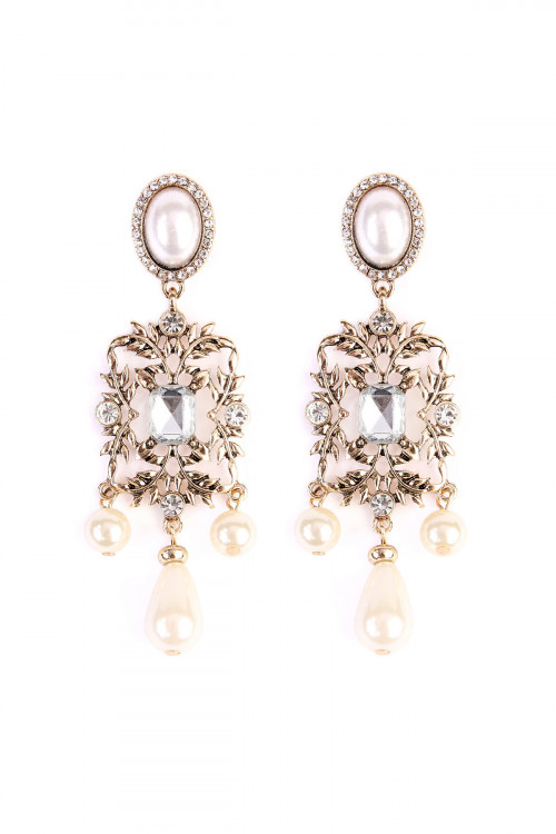 SA4-1-3-A25512WH-G OVAL LEAF PEARL DROP EARRINGS/6PAIRS
