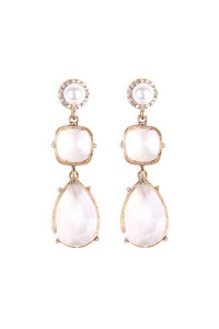 SA4-1-3-A25514WH-G OVAL LEAF PEARL DROP EARRINGS/6PAIRS