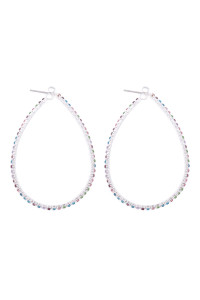 S1-4-2-25659-40LMU-S -   40X50MM PEAR SHAPE HOOP RHINESTONE EARRINGS - MULTICOLORS SILVER/6PCS