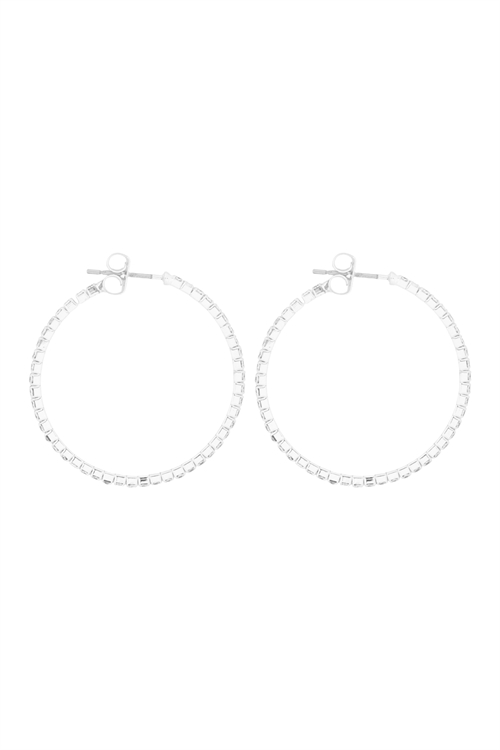 S1-4-2-25660-30CR-S - 1.5MM RHINESTONE HOOP POST EARRINGS - CRYSTAL SILVER/6PCS