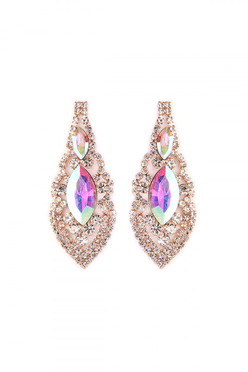 S6-4-3-A25704AB-G GOLD MARQUISE SHAPE POST EARRINGS/6PAIRS