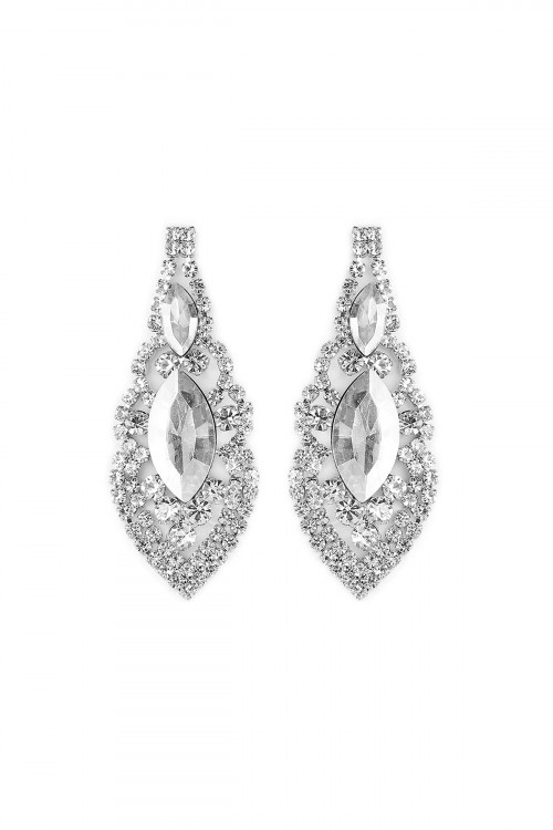 S6-4-3-A25704CR-S SILVER MARQUISE SHAPE POST EARRINGS/6PAIRS