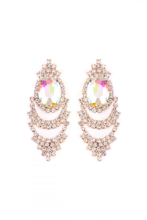 S6-4-3-A25705AB-G OVAL SHAPE POST EARRINGS/6PAIRS