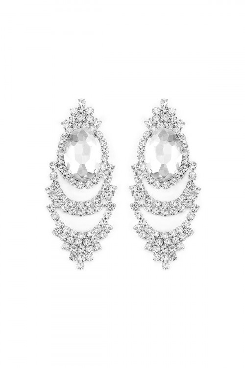 S6-4-3-A25705CR-S SILVER OVAL SHAPE POST EARRINGS/6PAIRS