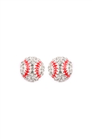 S24-7-5-25717WH-BASEBALL SPORTS STUD EARRINGS/6PCS