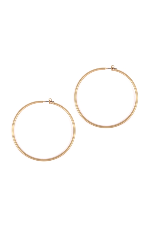 S1-4-4-25805-60MG- WIRE HOOP EARRINGS - MATTE GOLD/6PCS