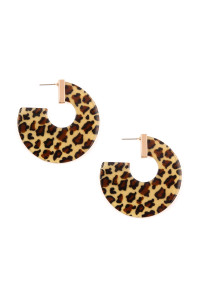 A2-3-3-A25855LCTM-G  DARK BROWN LEOPARD PRINT HOOP EARRINGS/6PAIRS
