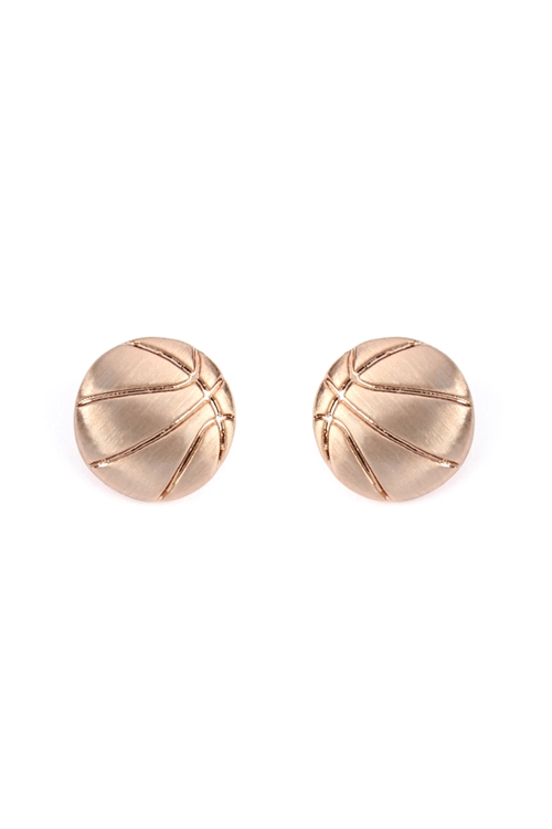 S1-1-1-25944-RG - SIMPLE BASKETBALL MATTE EARRINGS ROSE GOLD/6PCS