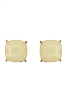 S24-2-2-26062BE-G - G 12MM CUSHION CUT POST EARRINGS - BEIGE/6PCS