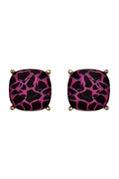 S24-1-5-26062FUM-G - G 12MM CUSHION CUT POST EARRINGS MARBLE FUCHSIA/6PCS