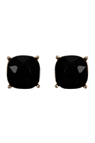 S24-2-2-26062JT-G - G 12MM CUSHION CUT POST EARRINGS - BLACK/6PCS