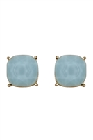 S24-2-2-26062LAZ-G - G 12MM CUSHION CUT POST EARRINGS - LIGHT BLUE/6PCS