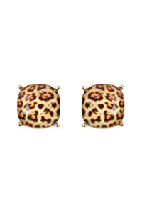 S6-6-4-A26062LCTM-G LEOPARD 12mm CUSHION CUT POST EARRINGS/6PAIRS
