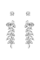 S22-5-3-26145CR-S - CRAWLER DANGLE BRANCH EARRINGS - CRYSTAL SILVER/6PCS