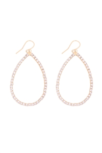 S1-4-2-26250-30CR-G - RHINESTONE 1 LINE PEAR SHAPE DROP HOOK EARRINGS - CRYSTAL GOLD/6PCS