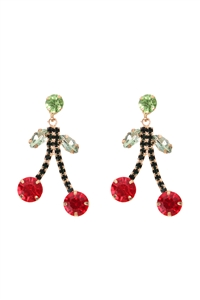 S1-5-1-26310LSIM-G - CHERRY RHINESTONE DROP POST EARRINGS/6PCS