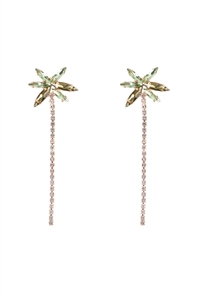 S1-5-1-26312PEM-G - PALM TREE RHINESTONE DROP POST EARRINGS/6PCS