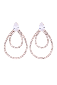 S1-3-4-26314-40CR-G - CUBIC ZIRCONIA PEAR SHAPE TEARDROP EARRINGS-CRYSTAL GOLD/6PCS