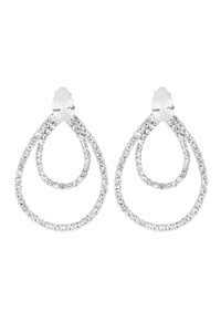 S1-3-3-26314-40CR-S - CUBIC ZIRCONIA PEAR SHAPE TEARDROP EARRINGS-CRYSTAL SILVER/6PCS