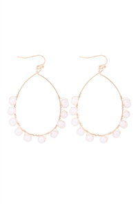 S1-3-3-26410WH-G - WIRE PEAR SHAPE BEADED HOOK EARRINGS - WHITE GOLD/6PCS