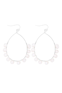 S1-4-2-26410WH-R - WIRE PEAR SHAPE BEADED HOOK EARRINGS - WHITE SILVER/6PCS