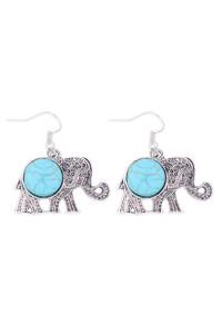 S1-3-4-26493TQ-BS -  ELEPHANT TURQUOISE STONE HOOK EARRINGS - BURNISH SILVER/6PCS