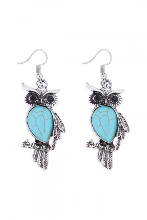 S1-4-4-26495TQ-BS - OWL TURQUOISE STONE HOOK EARRINGS - BURNISH SILVER/6PCS