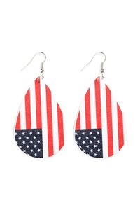 S18-8-1-26535MU-R - AMERICAN FLAG LEATHER EARRINGS - SILVER/6PCS