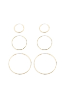 S22-10-2-26625-G - 15/25/40mm MIXED HOOP EARRINGS - GOLD/6PCS