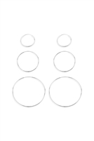 S22-10-2-26625-S - 15/25/40mm MIXED HOOP EARRINGS - SILVER/6PCS