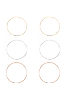 A3-3-4-26630MP- 40mm MIXED COLOR 3 PAIR HOOP EARRINGS/6PCS