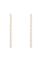 S24-7-5-26660CR-G - RHINESTONE LONG LINE SQUARE PATTERN EARRINGS - CRYSTAL GOLD/6PCS